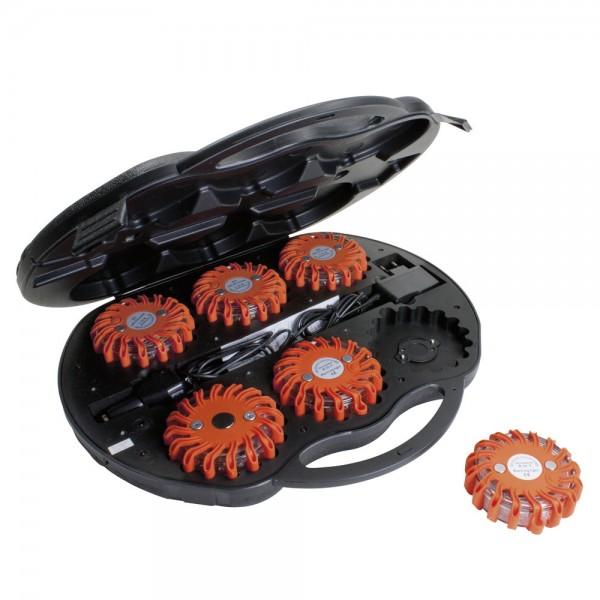 Dönges LED Signalleuchten-Set im Koffer, mit Ladegerät USB/12V/220V, orange