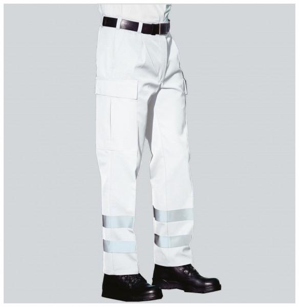 PFITZNER Rettungsdiensthose Das Original weiß Reflexstreifen silber