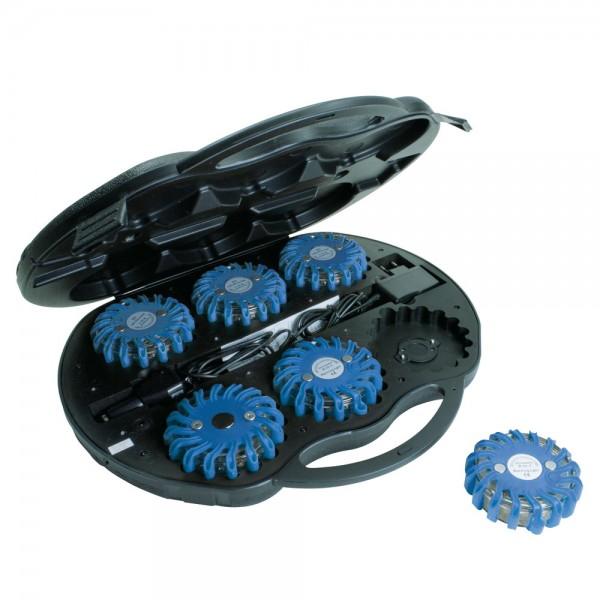 Dönges LED Signalleuchten-Set im Koffer, mit Ladegerät USB/12V/220V, blau