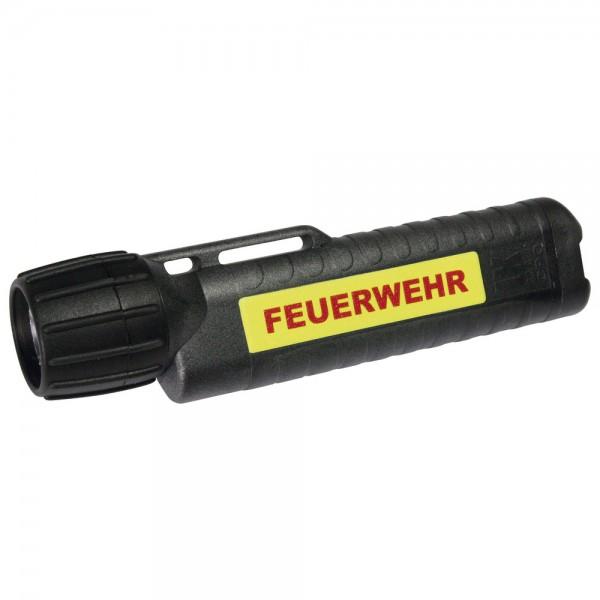 UK Helmlampe 4AA eLED CPO, TS Heckschalter, schwarz, nachl. Streifen, FEUERWEHR